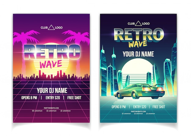 Festa con musica wave retrò, esibizione di dj in poster da discoteca