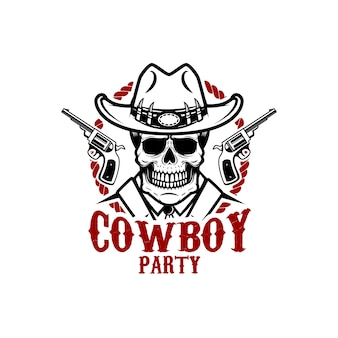 Festa da cowboy. cranio da cowboy con revolver. elemento per logo, etichetta, segno. immagine