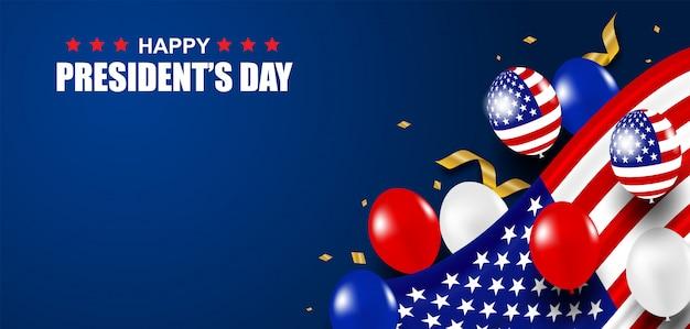 Festa dei presidenti negli stati uniti. sfondo. design con palloncini, bandiera usa e coriandoli d'oro.