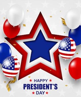Festa dei presidenti negli stati uniti. sfondo. design con palloncini, bandiera usa e coriandoli di lamina d'oro.