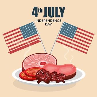 Festa del barbeque di festa dell'indipendenza di usa