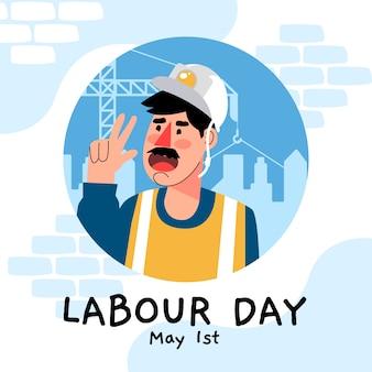 Festa del lavoro con operaio edile