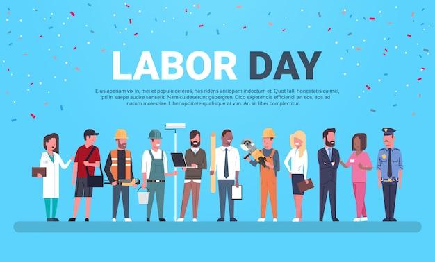 Festa del lavoro con persone di diverse occupazioni