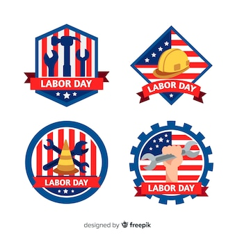 Festa del lavoro design piatto nella collezione di badge usa