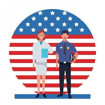 Festa del lavoro occupazione occupazione celebrazione nazionale, medico donna con poliziotto lavoratori nella parte anteriore illustrazione bandiera degli stati uniti d'america