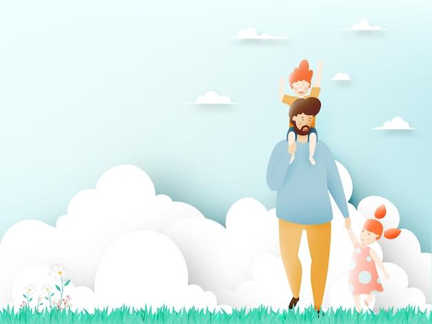 Festa del papà felice con il padre e figlio e figlia con lo schema pastello e l'illustrazione di vettore di arte di carta