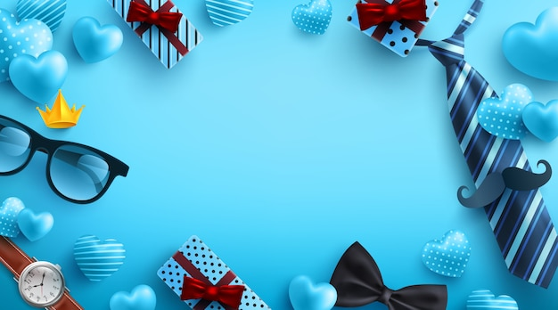 Festa del papà sfondo blu con flatlay di occhiali, cravatta, orologio e regali per papà