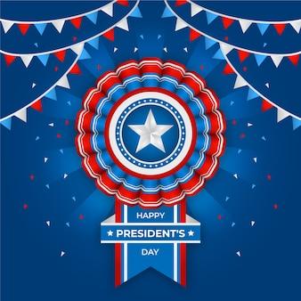 Festa del presidente con bandiera e ghirlande realistiche
