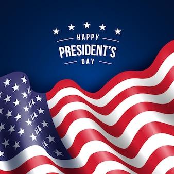 Festa del presidente con realistica carta da parati bandiera