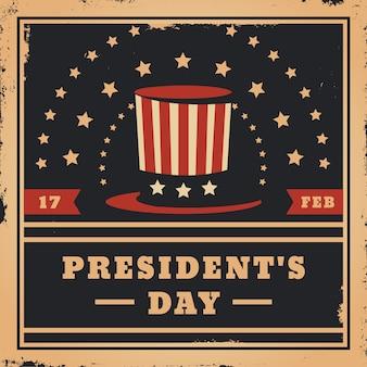 Festa del presidente vintage e cappello a cilindro con stelle