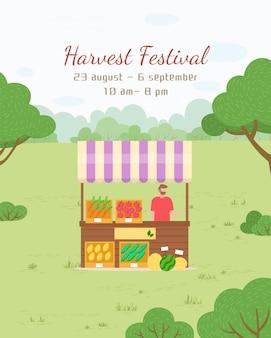 Festa del raccolto, bancarella del mercato con verdure