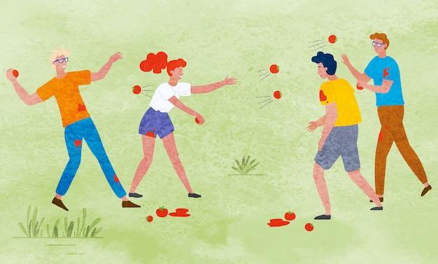 Festa del raccolto, gente che lancia pomodori maturi