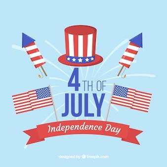 Festa dell'indipendenza americana con design piatto