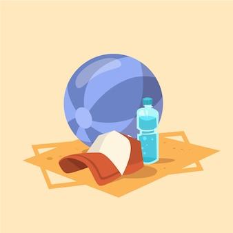 Festa dell'estate del concetto di vacanza del mare di estate dell'icona del cappuccio della palla