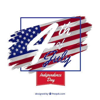Festa dell'indipendenza americana con bandiera e data