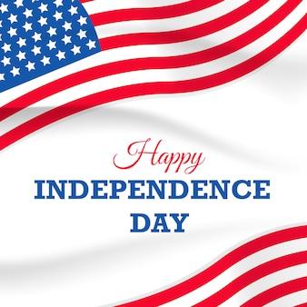 Festa dell'indipendenza con bandiera usa su bianco