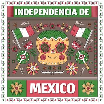 Festa dell'indipendenza del messico in stile carta