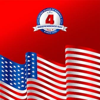 Festa dell'indipendenza dell'america il 4 luglio con sventolando bandiera nazionale americana e design distintivo.