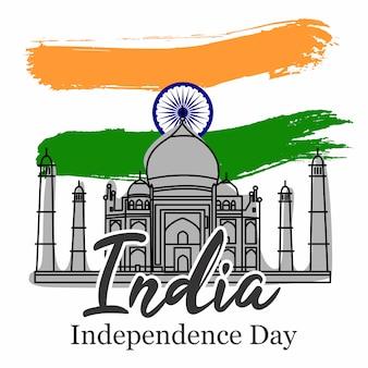 Festa dell'indipendenza dell'india con il vettore di taj mahal