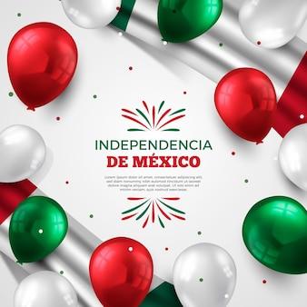 Festa dell'indipendenza dello sfondo del messico con palloncini realistici