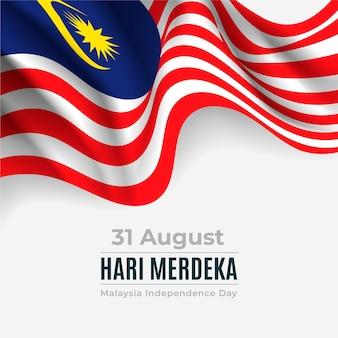 Festa dell'indipendenza di merdeka malesia con la bandiera