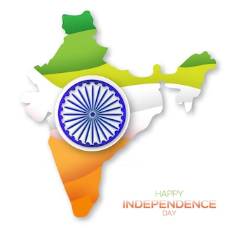 Festa dell'indipendenza indiana. sfondo di celebrazione con ruota di ashoka.
