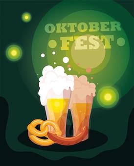 Festa della birra più oktoberfest con tazza e schiuma