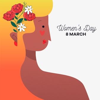 Festa della donna con donna con fiore tra i capelli