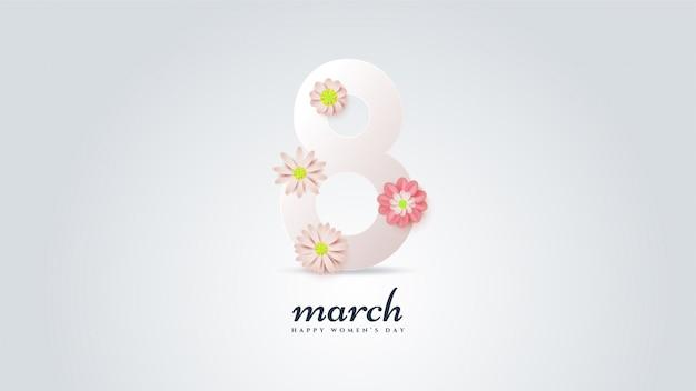 Festa della donna con illustrazione numeri 8 in bianco con fiori colorati.