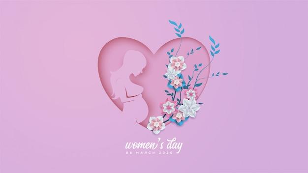 Festa della donna con illustrazioni di una donna incinta e fiori colorati.