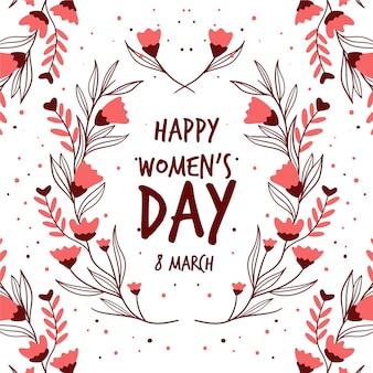 Festa della donna felice con fiori e foglie