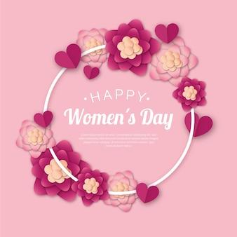 Festa della donna floreale con cornice floreale