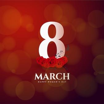 Festa della donna numero 8 e rose rosse.