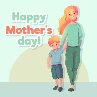 Festa della mamma dell'acquerello con madre e figlio