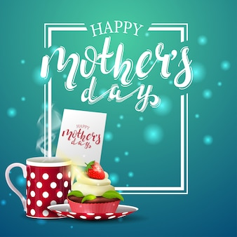 Festa della mamma felice cartolina verde