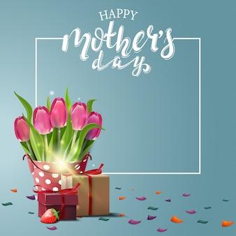 Festa della mamma felice saluto carta blu