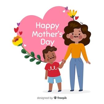 Festa della mamma madre che abbraccia il suo bambino sfondo