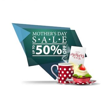 Festa della mamma sconto moderno banner geometrico