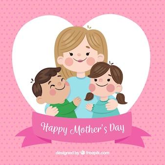 Festa della mamma sfondo con famiglia carino