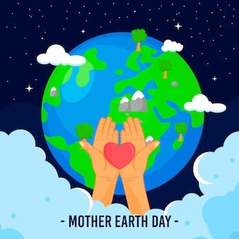 Festa della mamma terra con il pianeta e le mani che tengono il cuore