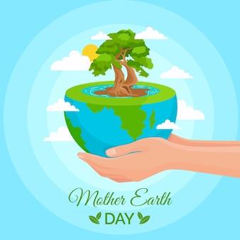 Festa della mamma terra con il pianeta tenuto in mano