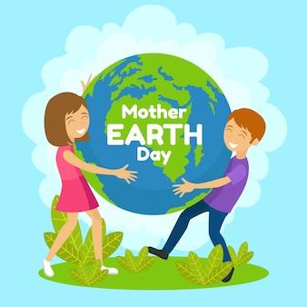 Festa della mamma terra con persone che tengono il pianeta terra