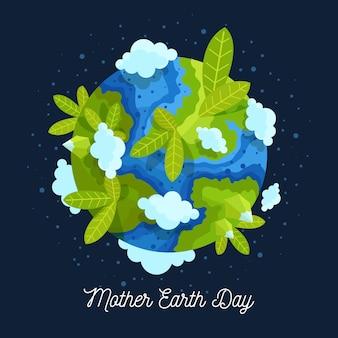 Festa della mamma terra con pianeta e piante