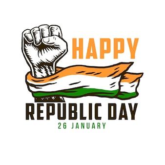 Festa della repubblica felice con la bandiera nazionale dell'india sul pugno