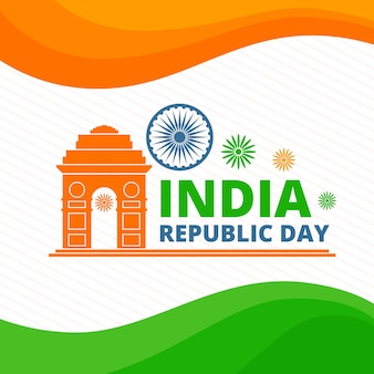 Festa della repubblica indiana con bandiera indiana