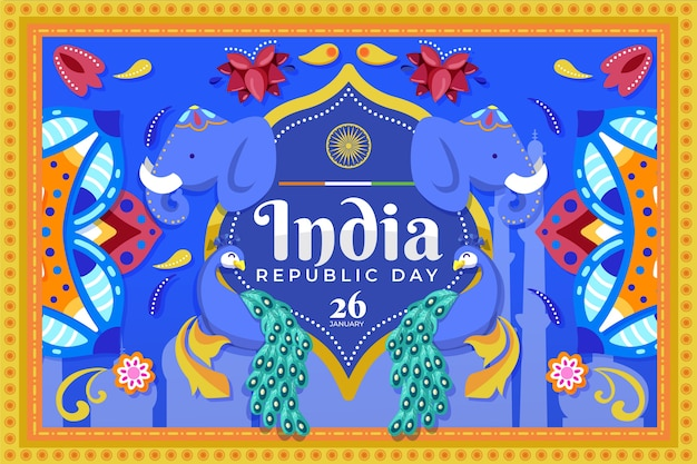 Festa della repubblica indiana in design piatto con elefanti