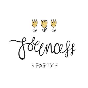 Festa delle principesse. lettering, fiori e trama dorata. illustrazione vettoriale