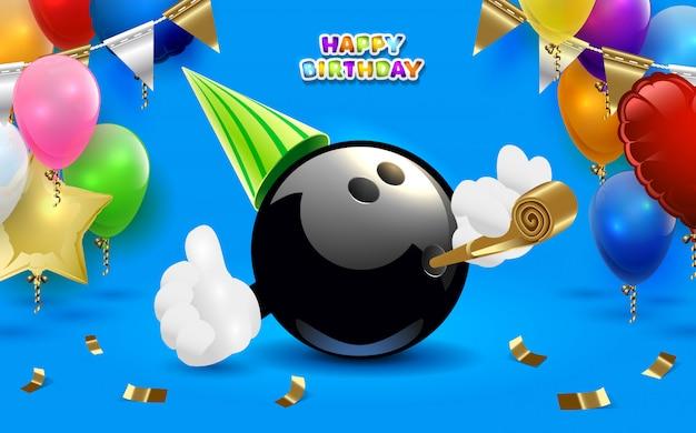 Festa di buon compleanno di bowling
