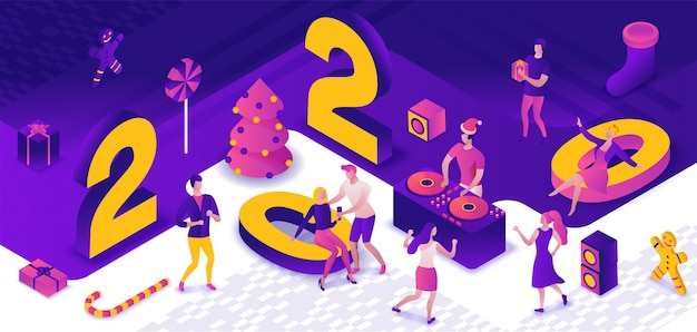 Festa di capodanno 3d isometrica