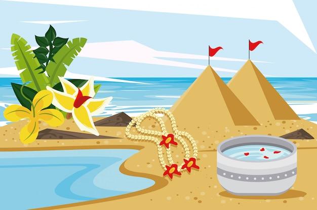 Festa di celebrazione di songkran con la ciotola del piatto sulla spiaggia